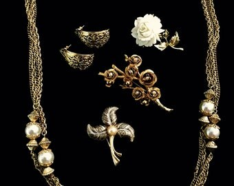 Vintage Goldtone and Faux PearlCostume Jewelry Lot; 3 Brooches, 1 Earrings and 1 Necklace