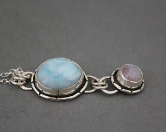 Larimar Jewelry, Moonstone Jewelry, Rainbow Moonstone, Sterling Silver Larimar, Metalwork Jewelry, Gemstone Necklace Handmade