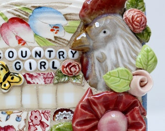 COUNTRY GIRL, ROOSTER mosaic wall art, gift