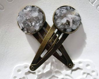 Gemstone hair clips Boho hair clips Natural healing crystal quartz hair accessory Bronze bridesmaid pins Long hair jewelry for womens