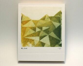 Polaroid #1 - small print - geometric print - tiny art - ready to hang - wall art - fine art series - contemporary art - triangles