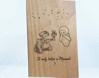 Wall-e and Eve Anniversary or Valentines Day Wood Laser-Cut Card