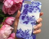 Blue and white antique porcelain print phone case - iphone 8 plus case, iPhone X case, Mothers day gift, Easter gift, Spring Style, iPhone