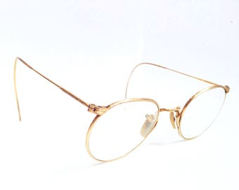 Minimalistic Antique 12K Gold Round Panto Eyeglasses with Shell and Engraved details