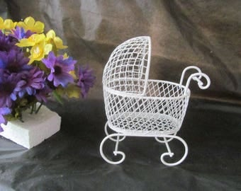 Vintage Mini Wire Baby Carriage for Baby Shower Centerpiece, Decorations or Cake Topper