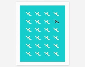 FLOCK (Giclée Fine Art Print/Photo Print/Poster Print) blue version