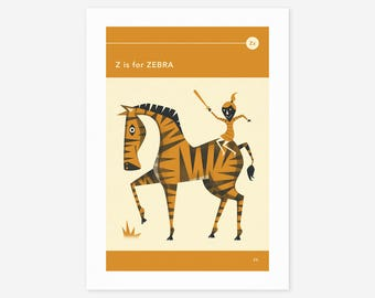 Z is for ZEBRA (Giclée Fine Art Print/Photo Print/Poster Print) by Jazzberry Blue