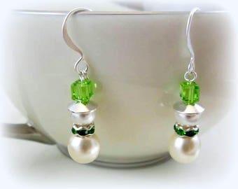 white Swarovski pearl green crystal snowmen earrings hypoallergenic earrings nickel free earrings Christmas holiday snowman beaded jewelry