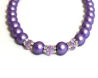 Satin Purple Czech Glass Druk Bead Swarovski Crystal Necklace with Clear Rondelles Beaded Elegant Necklace Czech Jewelry