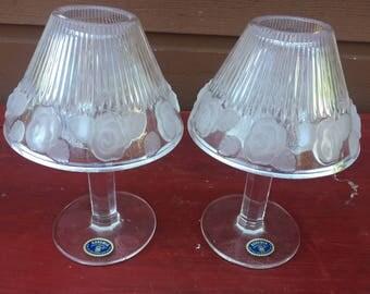 Bohemia CZECH REPUBLIC Candle Table Lamps - Set of 2