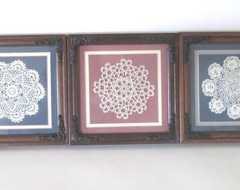 Framed vintage crochet doilie Art, Homecrafted Dolie Art