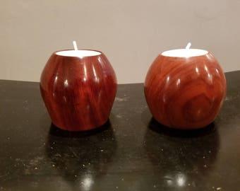 Bloodwood Apple Tealight Holders