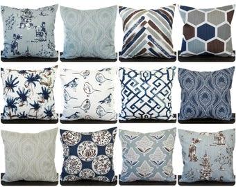 Decorative Pillow, Throw Pillow, Pillow Cover, Cushion, Navy Blue Brown Tan Taupe Khaki Gray White Regal Blue Slub Canvas Asian home decor