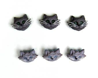 Set of 6 cat face shank buttons 3 dark gray cats and 3 lighter gray cats