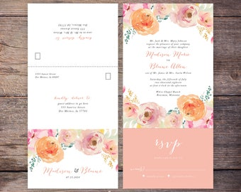 Seal and Send Wedding Invite, Printable, Flower, Watercolor, Peach Floral, Send N' Seal Wedding Invitation, All in one invitation - Madison