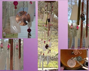 Pink Glass Wind Chime Copper Metal Wood Chime OHM Feng Shui Garden Spa Patio Ornament Rose Stained Glass Window Suncatcher Hanging Mobile