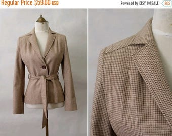 1970s wool Belted Jacket /70s sand wool jacket