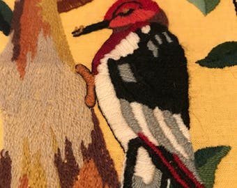 Two matching crewel embroidery pieces, bird, woodpecker, robin, for framed or pillow