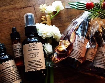Flower-ful face pack (rosehip face elixir, 'neck nurture' neck oil and rose face mist)