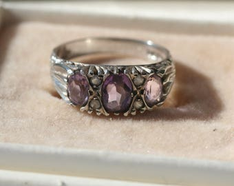 Vintage Sterling Silver Ornate Amethyst Trilogy Ring Fully Hallmarked 1970s