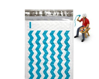 On Sale 10 6x10 Teal Chevron Poly Bubble Mailers Self Seal Envelopes size 0 6x9 usable size Padded Mailing Shipping Envelopes Bubble Bags