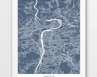 Prague Map Print, Prague Poster Print, Prague Czech Republic Urban City Street Map, Blue White Print, Modern Home Room Wall Office Art Decor
