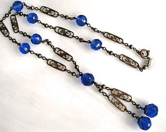 Blue Glass Drops Necklace, Negligee Y Choker, Vintage Nouveau Cartouche Spacers, Faceted Beads, Mini Brass Ball Beads, Czech Art Deco 1930s
