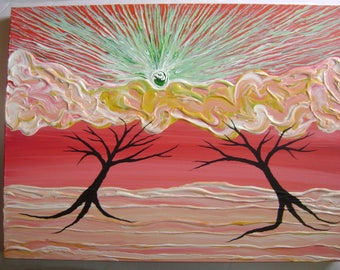 Celestial Rise - Original Acrylic Painting - Stretched Gallery Canvas - 18 x 24