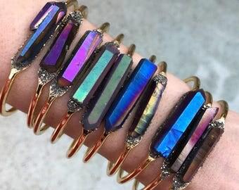Crystal Pryite Druzy Cuff Bracelets, boho bracelet, boho jewelry, crystal bracelets