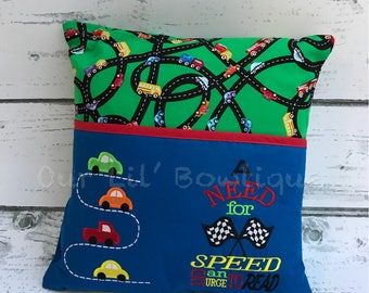 Car Reading Pillow - Kids Reading Pillow - Pocket Pillow - Car Gift -  Birthday Gift - Book Pillow - Car Birthday - Pillow - Gift - Cars