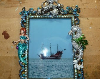 Nautical/Pirate Themed Vintage Metal Picture Frame - hand embellished - mermaid