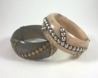 Studded Bangles - Chunky Thick Bracelet - Vintage Retro Costume Jewelry 1980's