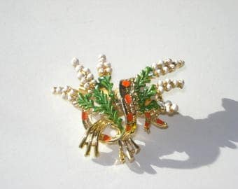 Vintage Scottish Lucky Heather Brooch - Exquisite  - Gold Celtic Pin -  Jewlery