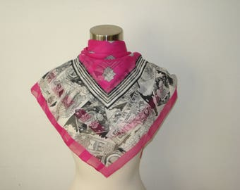 Vintage Pink and White Chiffon Scarf - Square Light Chicago Scarves - Womens Accessories