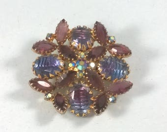 Vintage Flower Brooch - Purple Retro Floral Pin - 1960s Statement Piece Jewellery