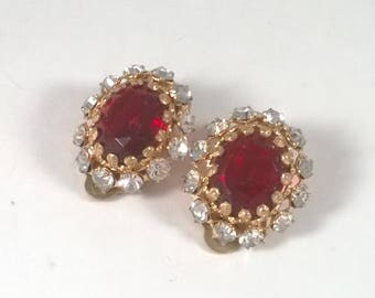 Vintage Rhinestone Red Earrings - Small Oval Clip On - Costume Jewelry 1960s