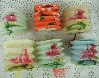 "Vintage Japanese Lanterns, Set of 6, Small Size, 3 x 3 1/2"",  Paper Lanterns, Garden Party, Garden Wedding, Romantic"