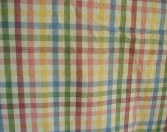 Vintage Tablecloth, Woven Plaid Tablecloth, 100% Cotton, Primary Colors, Summer Picnic Tablecloth, 49 x 68""
