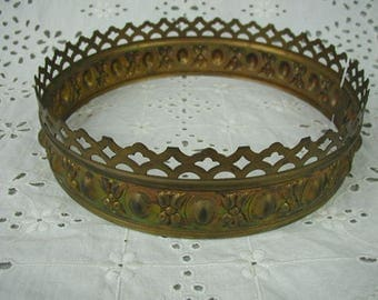Antique Brass Lamp Crown, 6 1/2 Inch Diameter, Ornate Lamp Hardware, For Repurpose or Upcycle, Home Decor, Jewelry Finding or Costume Crown