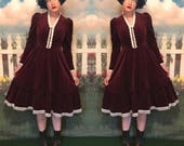 Burgundy velvetine Gunne Sax 70s priare dress