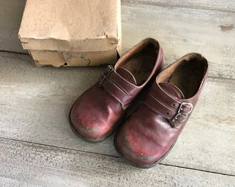 French Childs Shoes, Brown Leather, Mary Janes,  Original Box
