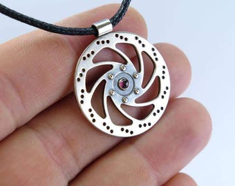 Bicycle Necklace, Cyclist Gift, silver pendant, bicycle pendant, Bike Necklace, rotor pendant, bicycle gift, Bike Jewelry