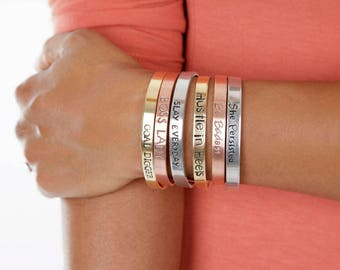 Sale Mantra Bangles - Hand Stamped Engraved Cuffs - Gold, Rose Gold or Silver Cuffs - Expressions Bracelets Instagram Special