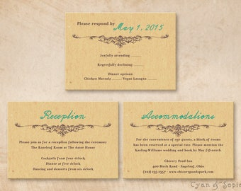 Printable Wedding Enclosure Cards - Nature Butterfly - 3.5x5 - R.S.V.P. Response Reception Accommodations Lodging Other Cards