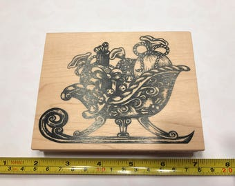 LARGE Santa sleigh rubber stamp, 90 x 120 mm (BB4/6)