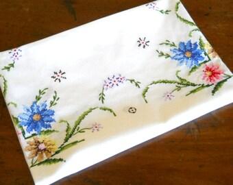 vintage floral tablecloth vintage white tablecloth embroidered tablecloth cross stitch tablecloth gift for her