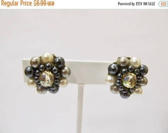 ON SALE Vintage Faux Pearl Cluster Earrings Item K # 1843