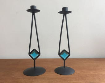 Vintage Candle Holders 1960s, wrought iron, Psychedelic, Danish Modern, vintage Candle Stick, Love Witch