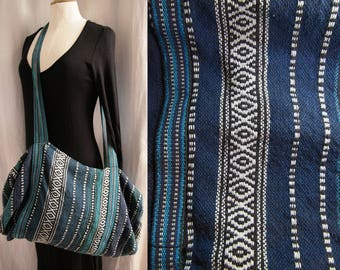 Vintage duffel bag, striped canvas, colors dark blue, turquoise, emerald