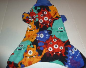 Small, Medium, Large PJs, Fleece Doggy Pajamas, Monster Pajamas, Halloween Monster PJs, Winter doggy Pajamas, Doggy Onesies